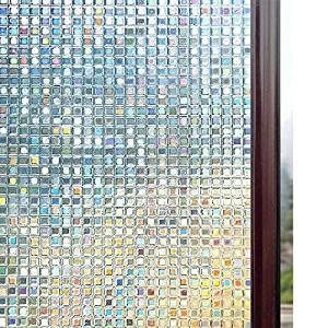 Rabbitgoo 3D Window Films Privacy Film Static Decorative Film Non-Adhesive Heat Control Anti UV 23.6In. By 78.7In. (60 x 200Cm)